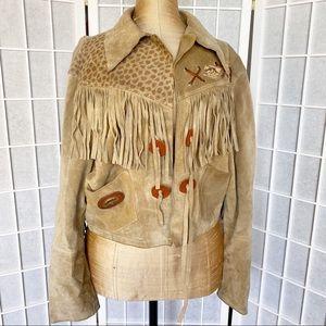 VINTAGE suede leather cowboy tassel fringe jacket